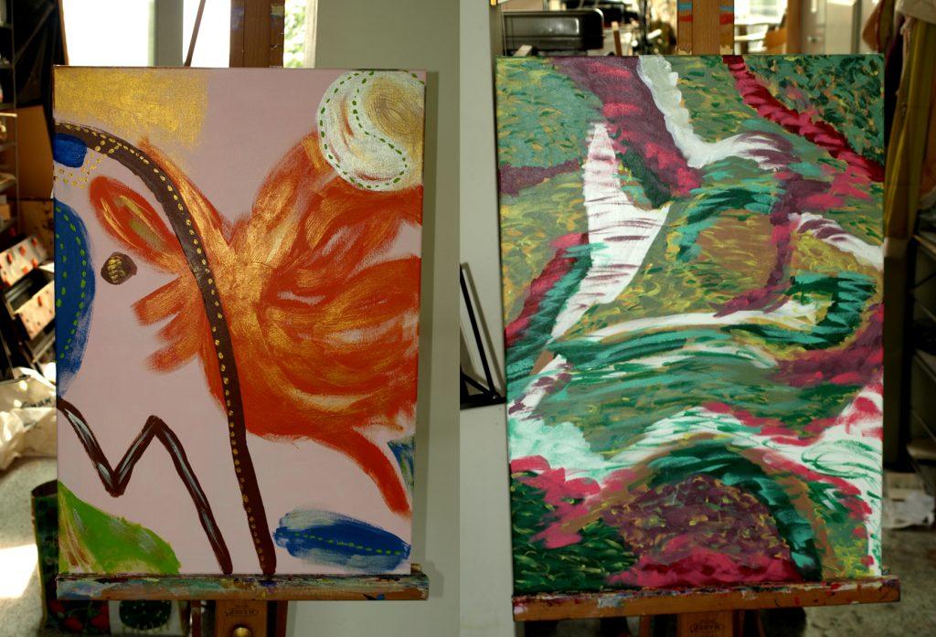 de twee kunstwerken te samen