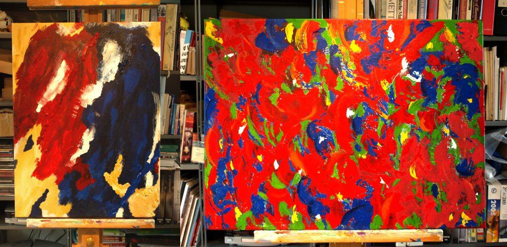 de twee schilderijen te samen